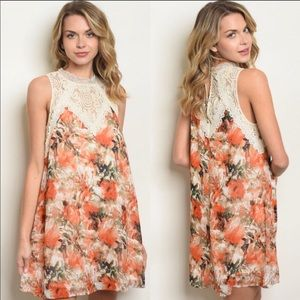 Entro- Floral and Lace Tunic Dress